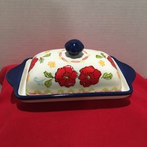 Red Poppy Flowered Butter Dish